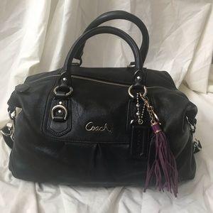 Black Leather Coach Medium Satchel